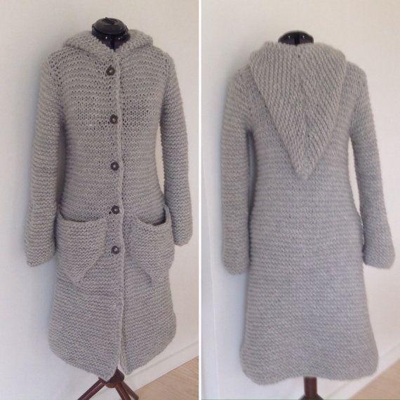 Long trendy cardigan in ecocertificed Wool. Danish Hand Knit from www.frustrik.dk for sale at etsy.com