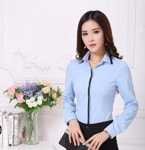 Alta calidad nuevo 2015 otoño Formal blusas mujeres azul camisas de manga larga para trabajo blusa oficina camisas de uniforme elegante(China (Mainland))