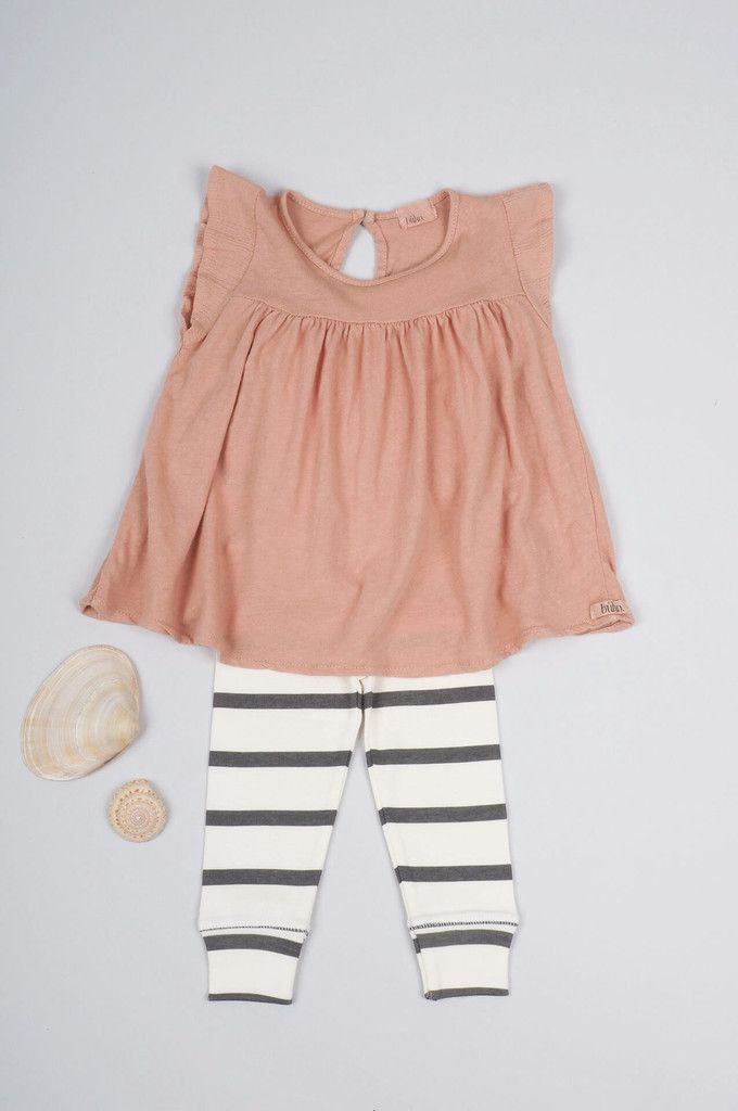 striped leggings + ruffly dress