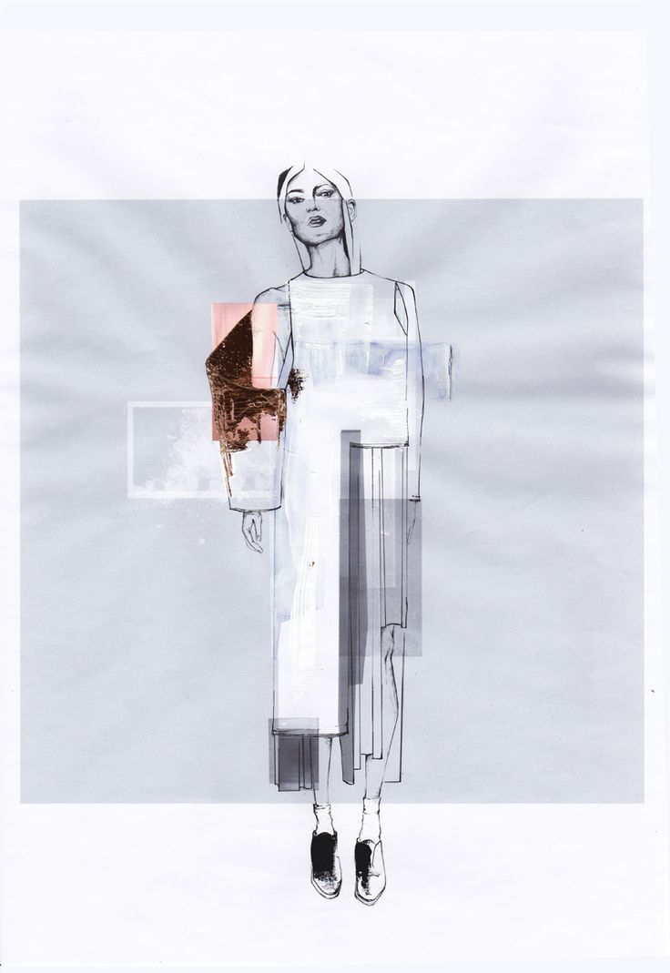 Student work by second year student in the BA Program - Christina Streitwieser. Capsule Collection Development.   #designeducation #designprocess #textile #haptics #silhouette #Illustration #sketches #collage