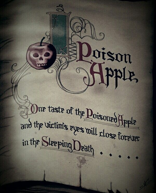One taste of the Poisoned Apple and the victim's eyes will close forever.. - Snow White and the Seven Dwarfs (1937) #waltdisney