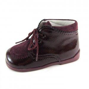 Zapato niño inglesito charol y serraje color burdeos Piulin