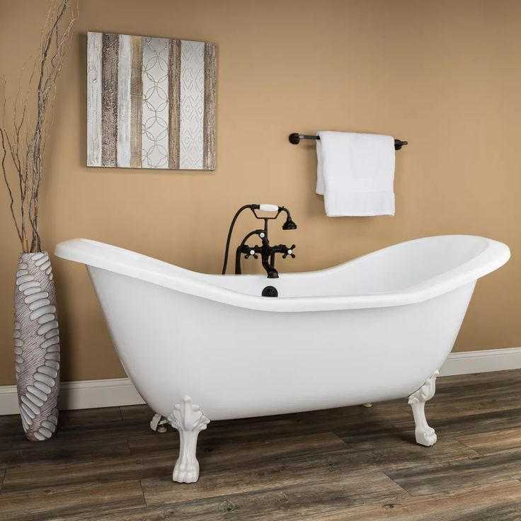 Serenity 72 Inch Acrylic Double Slipper Clawfoot Tub No Faucet