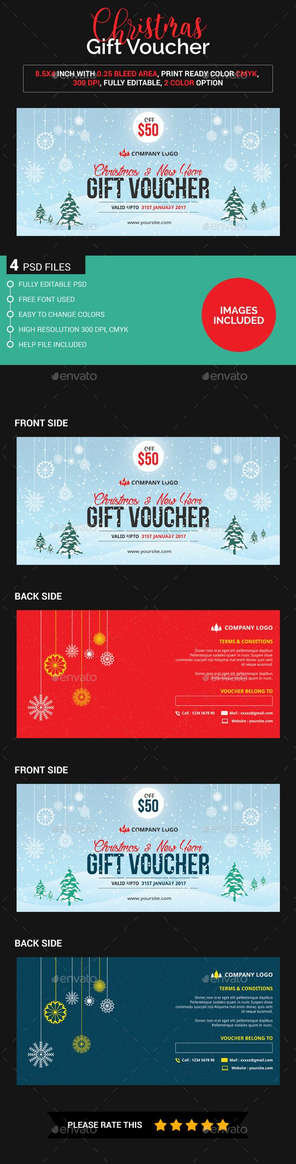 25 best gift voucher design templates images on pinterest design christmas gift voucher images included yelopaper Images