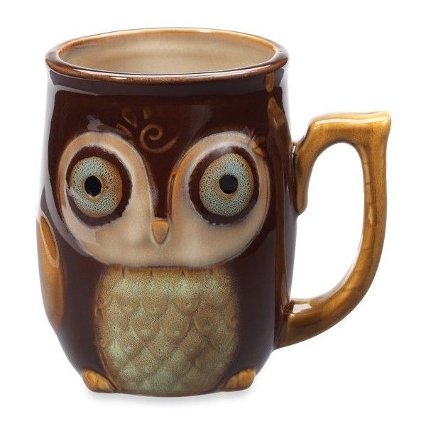 Nature's Owl 12-Ounce Mug - Brown ($4.99) ❤ liked on Polyvore featuring home, kitchen & dining, drinkware, fillers, owl, stuff, cups, brown, owl tea cup and stoneware mugs