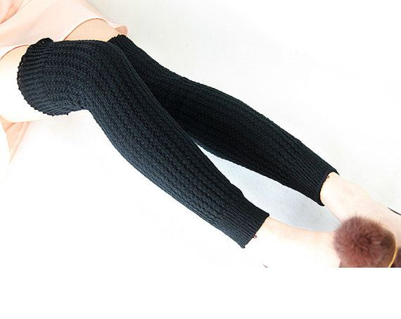 Black Long Leg Warmers Over The Knee Crochet Leg by GXJSocks