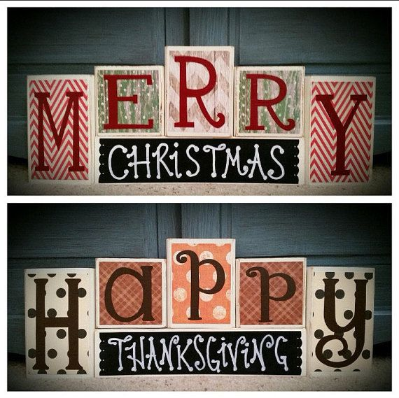 Custom made to order reversible block set. Happy Thanksgiving on one side Merry Christmas on the other side. Chalk label on base block. Two holiday