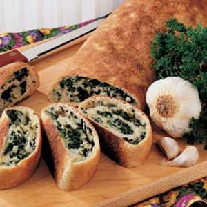 Spinach roll - we added just a little Italian seasoning, too.  Oh, and we dipped it in pizza sauce.  Yum!