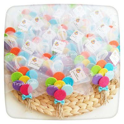 ♥ Tiryaki Hobi ♥: Keçe bebek şekeri / doğumgünü magneti - balon demeti (MUHAMMED MUSTAFA) ------ felt balloons