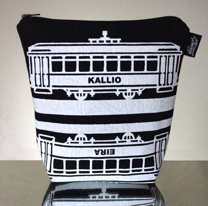 Tram -meikkilaukku // Tram make-up bag (Design by Pisama Design)