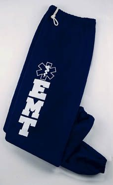 EMT Sweatpants $24.99  A collection of comfortable sweats, tees and shorts featuring a screened Star of Life design, especially for EMTs.  The perfect fit to wear on the job or great to relax in your spare time.  The EMT sweatpants feature an elastic drawstring waist. Available in Navy only. http://paradiseinternetmall.net/FAMILY.html