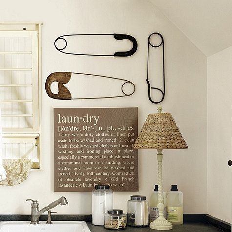 Laundry Room Art - How fun! Set of 3 Safety Pin Plaques from Ballard Designs $35