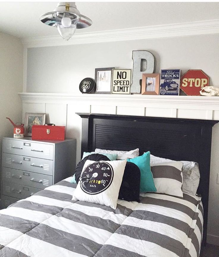 Use Ledge And Shelf Above Bed For Decor Grey Boys Rooms Boys