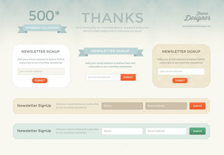 #Freebies - Awesome #Newsletter Signup #Free #PSD