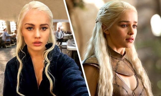 15 people who look unbelievably similar to Hollywood actors. Emilia Clarke and her body double Rosie Mac, 'Game of Thrones'.