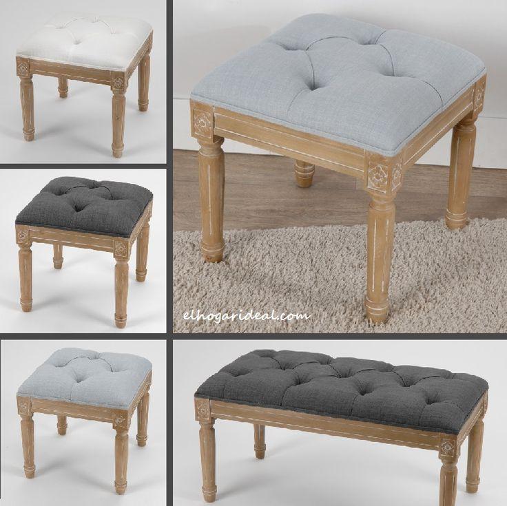 Banco fabricados en madera de hevea y tapizados en lino en - Como tapizar una banqueta ...