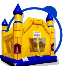 Yellow Bounce castle great for your little prince or princess. Also fun for you knightly parties!