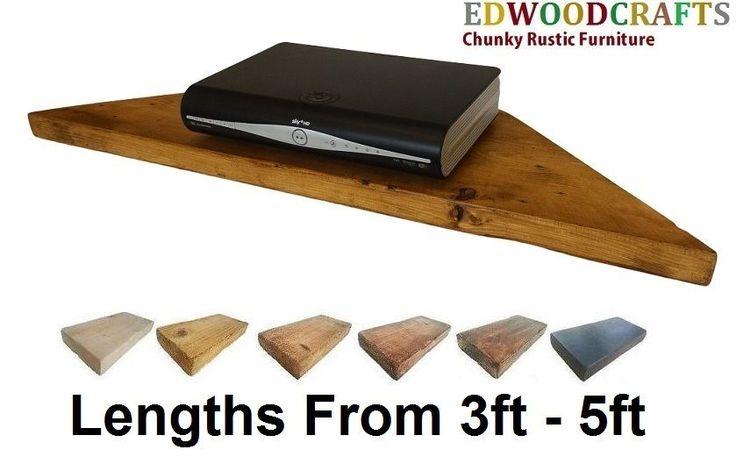 XLARGE CORNER SHELF SHELVES RECLAIMED PINE, TV SKY VIRGIN XBOX PS4 in Home, Furniture & DIY, Furniture, TV & Entertainment Stands | eBay
