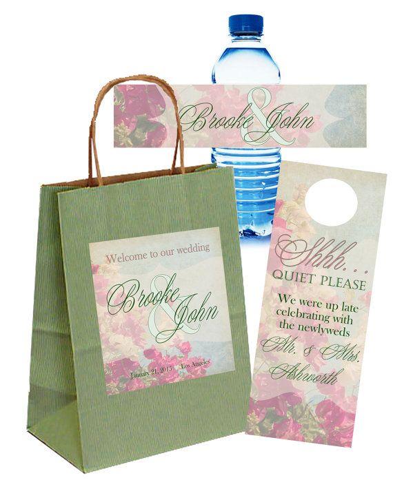 Wedding Labels For Gift Bags: 54 Best Rustic Wedding Welcome Bags, Door Hangers, Water