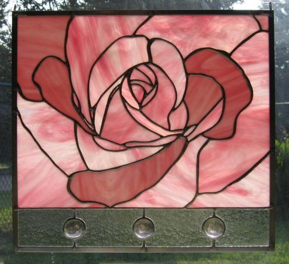 Pink Rose Stained Glass Panel by Nanantz on Etsy, $185.00