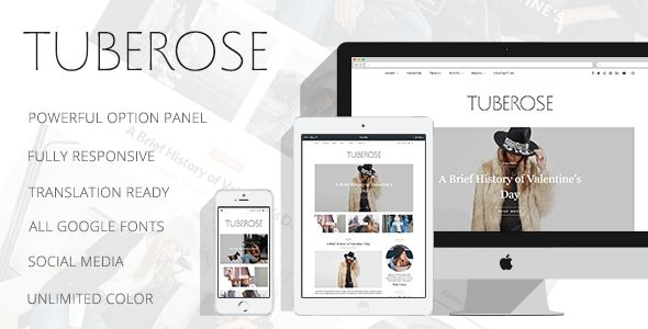 Tuberose - Smart Personal WordPress Blog Theme - Personal Blog / Magazine