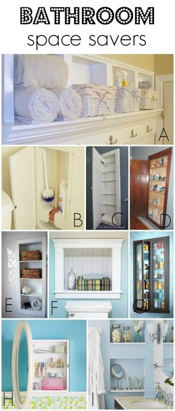 Use recessed storage between studs to save space in a small bathroom via Remodelaholic.com