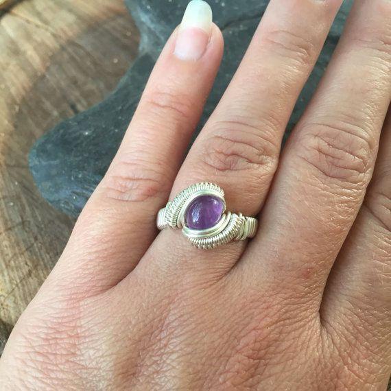 Draad gewikkeld maat 6 Amethist Wire Wrap Ring, Wire Wrapped Amethist Ring, Ring, Amethist Ring in Sterling Zilver