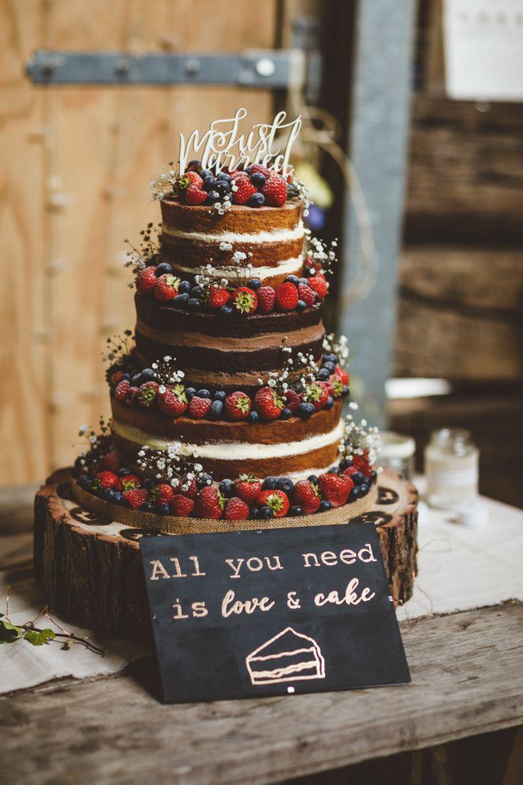 Nackte Kuchen Schicht Schwamm Obst Beeren Log stehen rustikale entspannte Farm Hochzeitsfoto …   – décoration tarte gâteau entrée