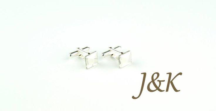 Spinki do mankietów Swarovski srebrne unikat w J&K Art - wyjątkowe spinki do mankietów na DaWanda.com