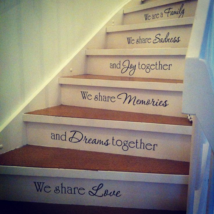 Family vinyl decals up the stairs! ❤️