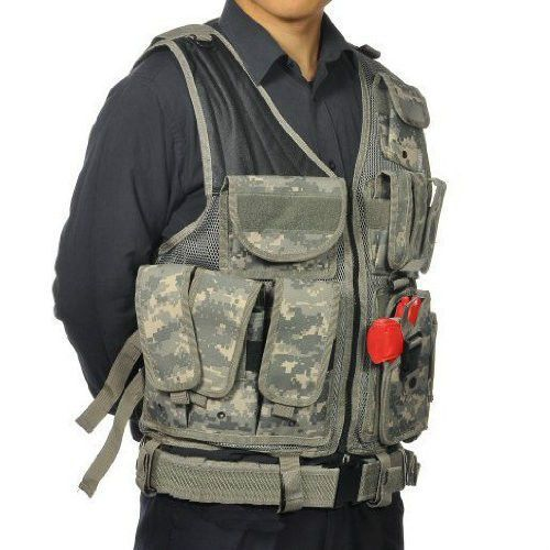 ACU-Army-Digital-Camo-Lightweight-Military-Hunting-Assault-Vest-Pistol-Holster