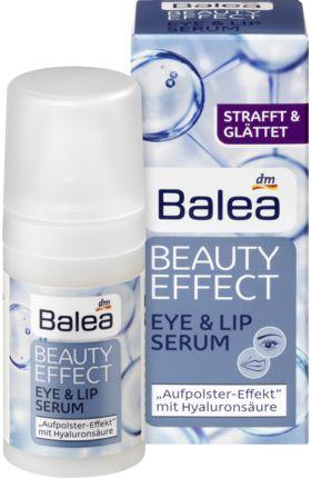 Balea Beauty Effect Eye & Lip Serum mit Hyaluronsäure und Isoflavone strafft und glättet die sensible Haut rund um die Augen sowie Lippen. Das Hautbild...