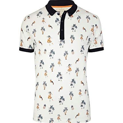 white hula girl print polo shirt - polo shirts - t-shirts / vests - men - River Island