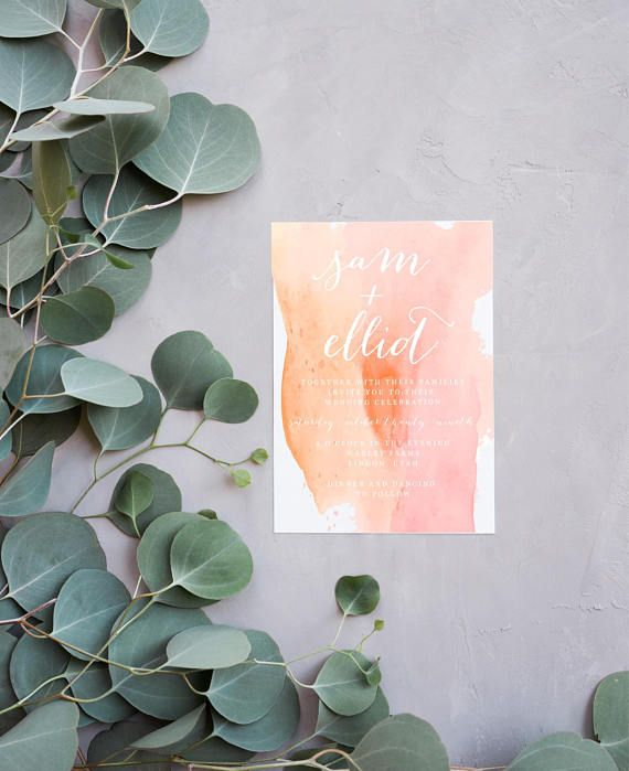Watercolor Wedding Invitation Simple Wedding Invitation