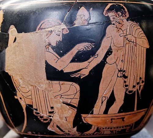 """collective-history:""""Physician treating a patient. Red-figure Attic aryballos. Courtesy of the Louvre Museum  The first known Greek medical school opened in Cnidus in 700 BC. Alcmaeon, author of the first anatomical work, worked at this school, and it was here that the practice of observing patients was established. Ancient Greek medicine revolved around the theory of humours."""""""