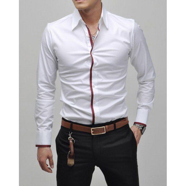 Slimming Lapel Striped Hem Men's Long Sleeve Cotton Blend Casual Shirt