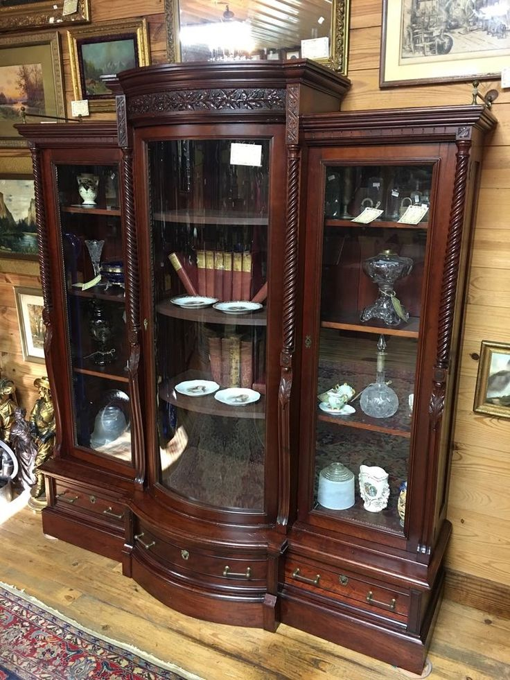 Carved Victorian Triple Door Bowed Glass Bookcase Near