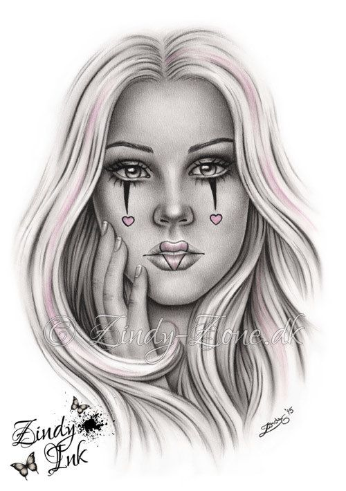 Sweet as Candy Chicano Tattoo Clown Girl Heart Makeup Art Print Glossy Emo Fantasy Girl Zindy Nielsen