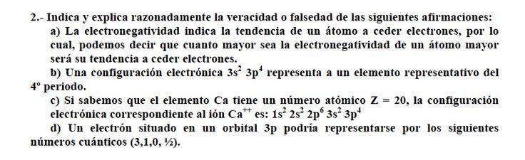 Ejercicio 2, propuesta 2, SETIEMBRE 2003-2004. Examen PAU de Química de Canarias. Temas: estructura atómica.