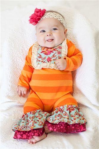 Peaches'n Cream Orange Striped Onesie with Flower Headband Fall 2015