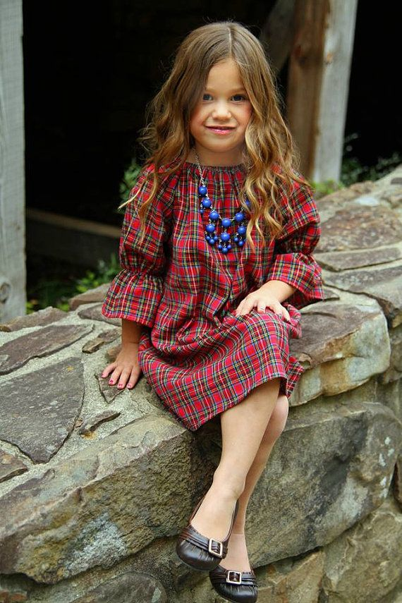 Plaid Flannel three quarter length long sleeve peasant dress, fall, winter,coming home outfit, baby, toddler, girls on Etsy, $19.50