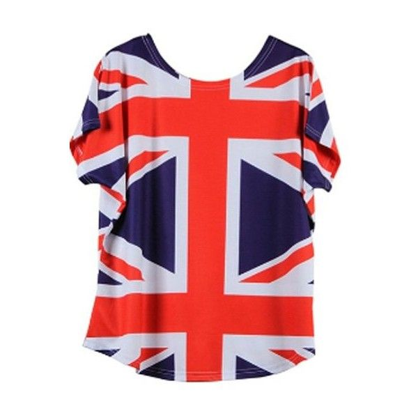Women s Loose Fitting Union Jack Flag Printed T Shirt ($9.82) ❤ liked on Polyvore featuring tops, t-shirts, loose fit tops, red t shirt, union jack t shirt, cut loose tops and loose fit tee