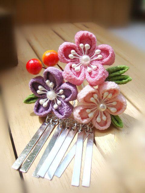 pink and purple sakura kanzashi gesha maiko kimono by sasameyuki, $16.99