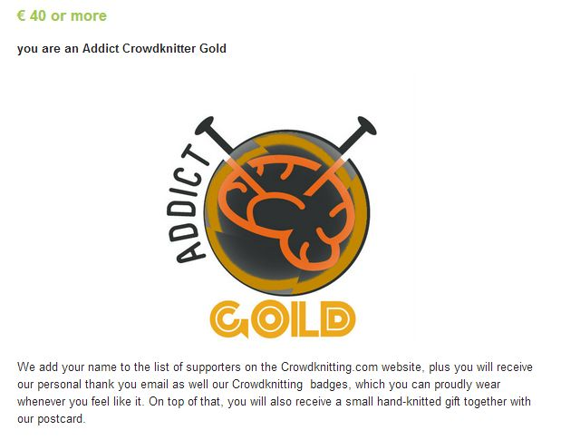 Addict Crowdknitting GOLD, crowdfunding campaign on Indiegogo http://www.indiegogo.com/projects/crowdknitting-community