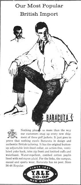 """Early 60s advert for the original """"G-9"""" BARACUTA Harrington jackets for Yale Co-op..an Ivy League shop that imported them."""