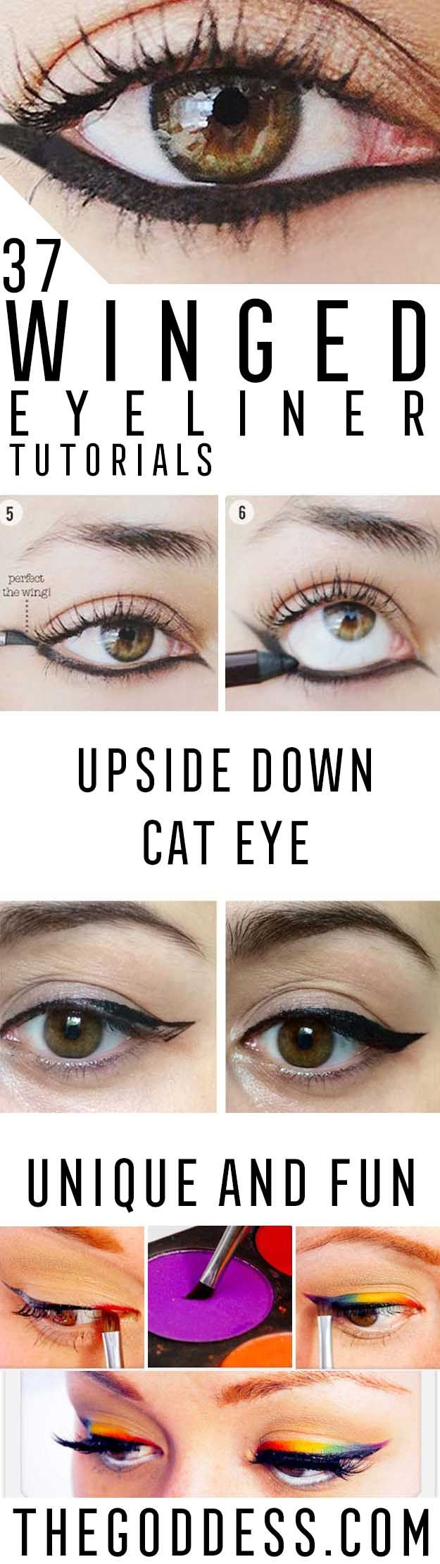 Winged Eyeliner Tutorials - Easy Step By Step Tutorials For Beginners and Hacks Using Tape and a Spoon, Liquid Liner, Thing Pencil Tricks and Awesome Guides for Hooded Eyes - Short Video Tutorial for Perfect Simple Dramatic Looks - thegoddess.com/winged-eyeliner-tutorials