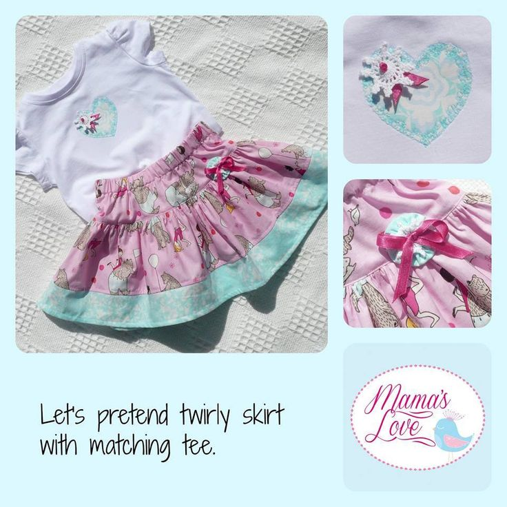 """Handmade by Mamas Love Childrens Clothing and accessories """"I'm going on a bear hunt"""" twirly skirt with matching tee. Size 1."""