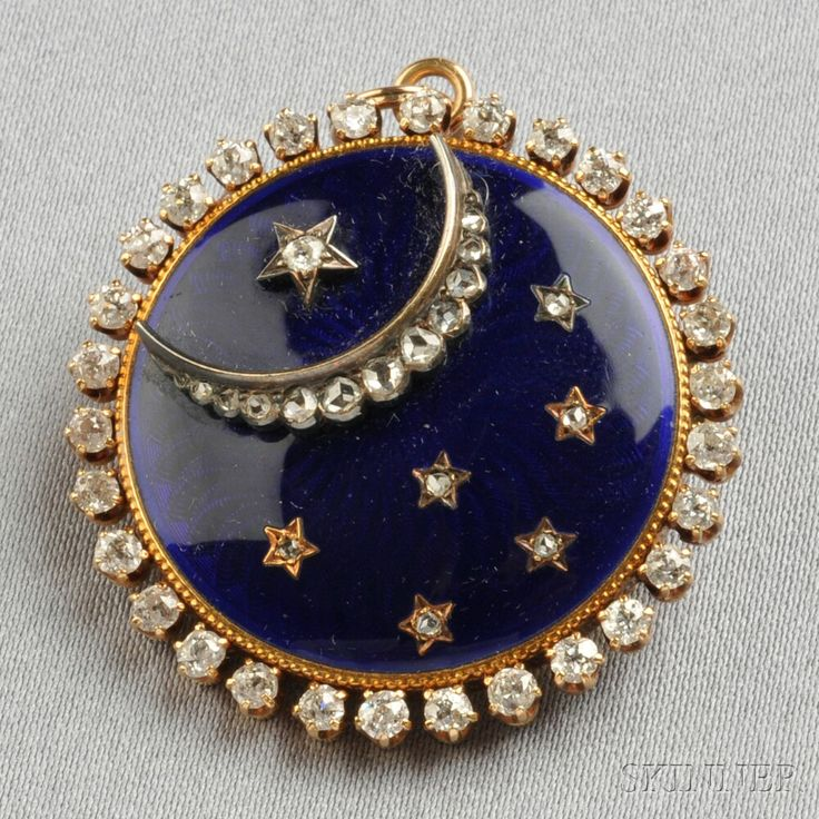 Antique Gold, Enamel, and Diamond Pendant/Brooch, Jaques & Marcus, designed as a rose-cut diamond crescent moon and stars on blue enamel ground, framed by old mine-cut diamonds