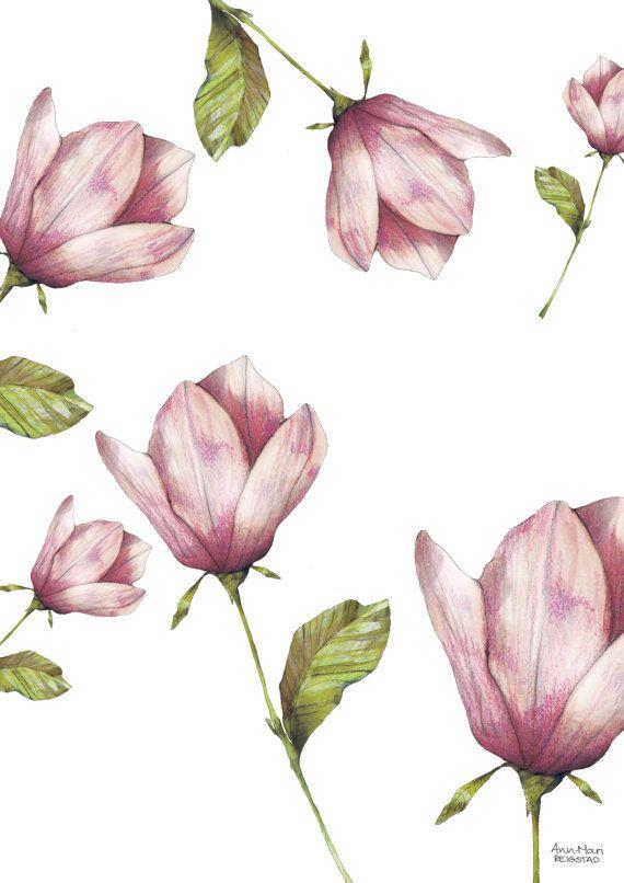 Flower Pattern flower wall art flower print by annmarireigstad