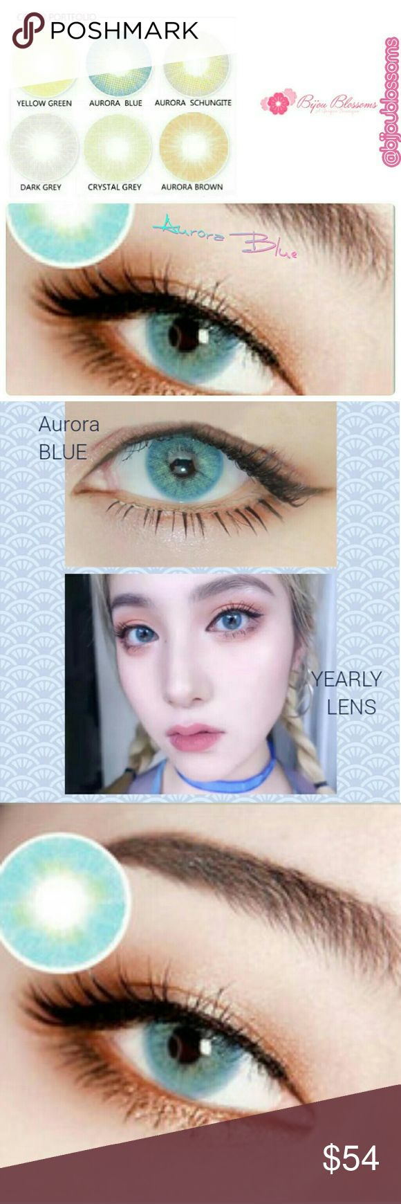 Aurora Blue Hidrocor Yearly Color Contact Lenses Beautiful Aurora Series Hidrocor Three Tone Color Contact Lens. This listing is for one pair of plano -0.00 (no prescription) yearly disposable color contacts lens in the color Aurora Blue.   Details are as follows:  Expiration date: 12.2021 Base curve:8.5mm Diameter:14.2mm Center thickness: 0.08mm Water content: 40% Main material: HEMA Lenses hardness: Soft Life span: One year  Please Note: 1.Brand new, high quality with fast shipping! 2.All…